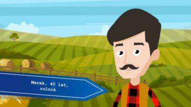 Kadr z rysunkowego filmiku promocyjnego przedstawiający postać rolnika
